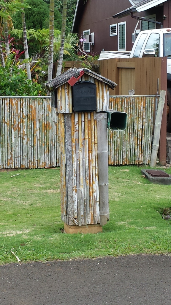 Mailbox mounted in bamboo pillar