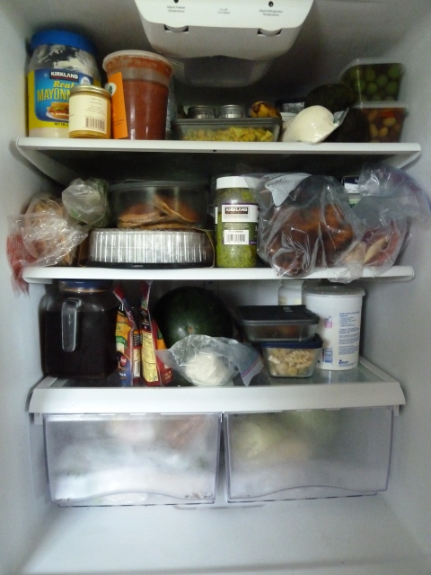 Our stuffed-to-the-max refrigerator