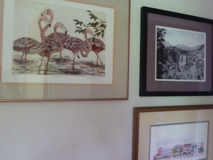 """More travel wall photos: Flamingos from our time in Key West; and old photo of Opaekaa Falls on Kaua'i; and """"Rainbow Row"""" in Charleston, South Carolina."""
