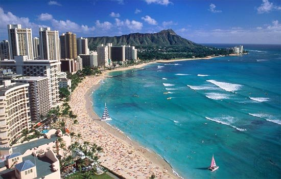 Waikiki Beach. That's the Royal Hawaiian Hotel in the lower left-hand corner; the Hale Koa is right next door, just out of the picture.
