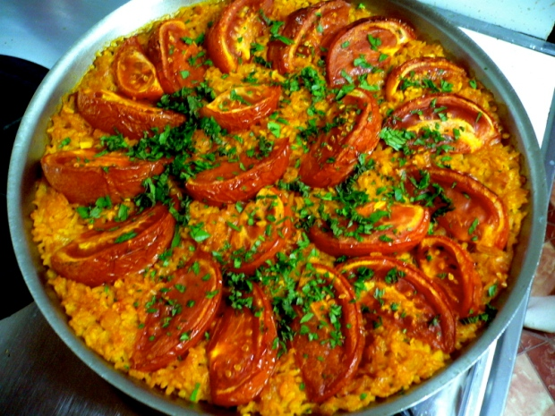 Mark Bittman's paella with tomatoes