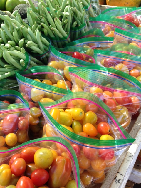 Colorful cherry tomatoes and green beans