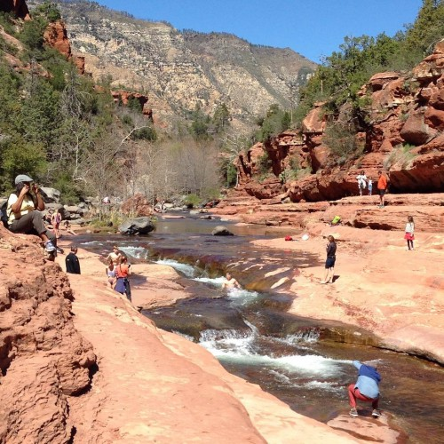 Slide Rock State Park - the water was cold, but a few brave souls were giving the slide a go.