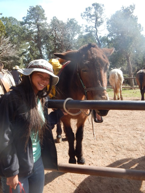 A happy YaYu and her happy mule, Willow, at the end of our ride