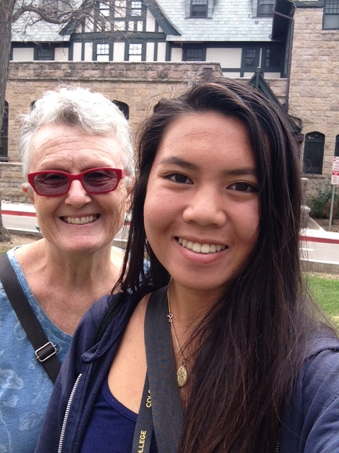Two very tired women in front of Bemis Hall at Colorado College - Bemis was my mom's dorm from 1942 - 1945.