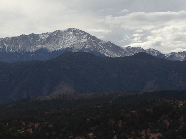 Pike's Peak and the Rockies dominate the view in Colorado Springs.