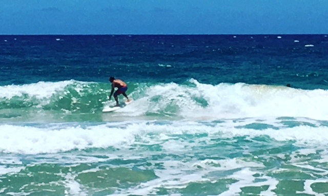 Some older surfers were shredding it on Monday