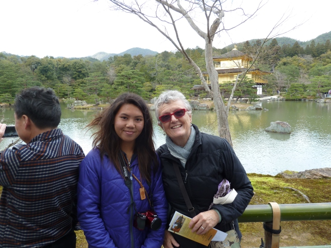 Relieved to have arrived at Kinkakuji