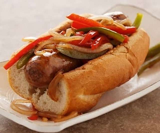 Italian sausage with sautéed peppers and onions