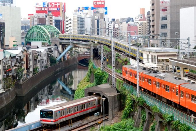 My first day in Japan, my host family put me on the train (the orange one, the Chuo Line) and sent me into Tokyo on my own for orientation and first day of class. It was quite the experience, but I didn't get lost and made it home at the end of the day!