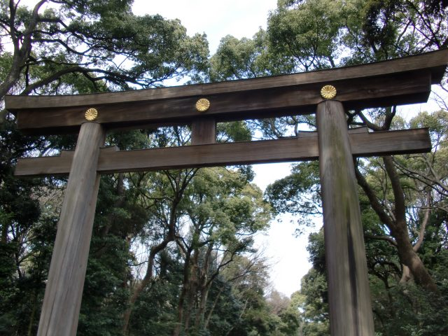 The huge torii gate at the entrance to the Meiji Shrine. Torii mark the entrance to sacred spaces.