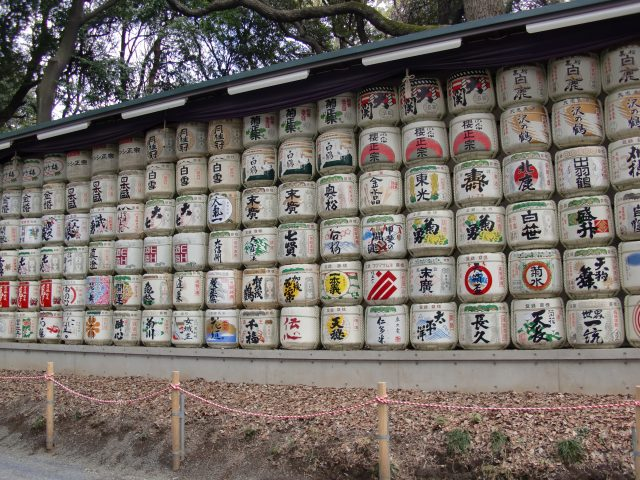 Sake breweries from around Japan send a cask to Meiji Shrine each year for blessings and good luck in the coming year.