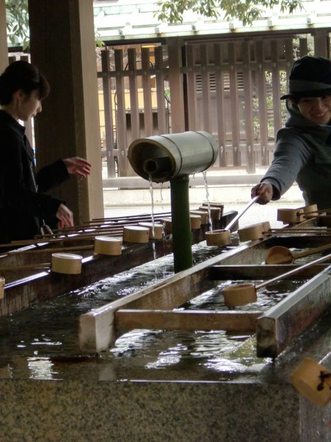 Purification fountain. Water is poured into your left hand; the water is sipped and swished around in the mouth and then spit out. Then both hands are splashed with water.