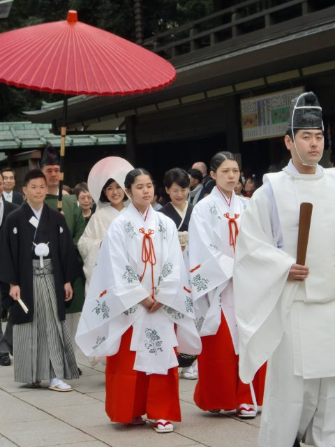 A wedding procession through the shrine