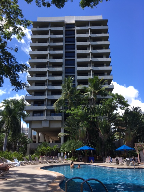 Our hotel tower, one of two at the Hale Koa. Our room was on the top floor, second from the left.