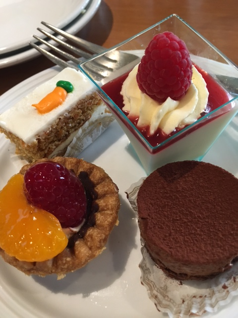 Dessert selections included carrot cake, raspberry panna cotta, chocolate mousse and mini fruit tarts