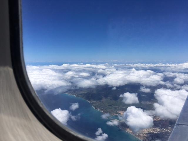Saying goodbye to Oahu - 30 minutes later we arrived on rainy Kaua'i