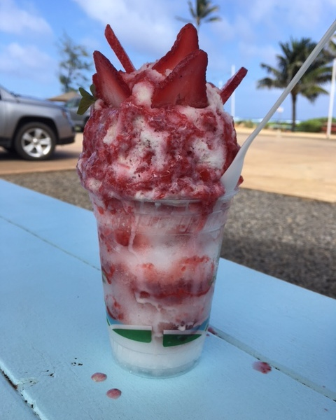 Strawberry shave ice from Tege Tege