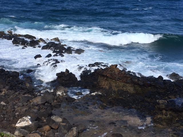 Tidepools run through the rocks on the shore