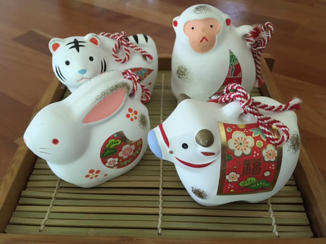 Zodiac animals for New Years: A tiger, monkey, rabbit and ox