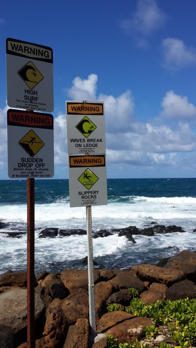 High Surf, Sudden Dropoff, Waves Break on Ledge, Slippery Rocks