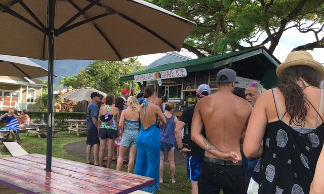 Always long lines at Wishing Well Shave Ice