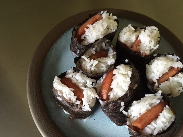 The girls worked without a mould, which would have made for some cleaner-looking musubi. They said it was delicious.