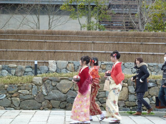 "Young Japanese women visiting Kyoto often rent kimono for the day, to create a more ""Japanese"" feeling while they visit the sites."