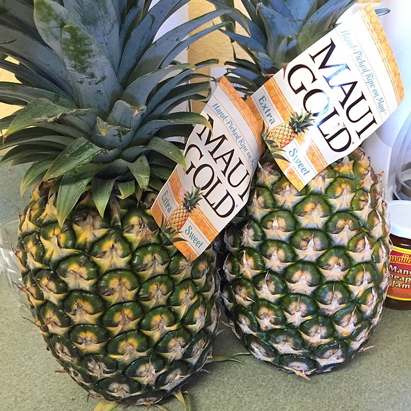 BIG pineapples from Maui are just $3.99 (these are a bit green, but they ripen quickly here)