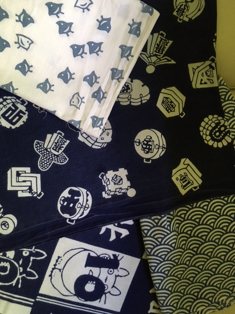Indigo blues: Chidori (plovers), antique firefighter logos, waves, and Totoro
