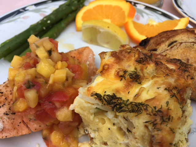 Second course was salmon with mango salsa, strata, asparagus, and cinnamon toast