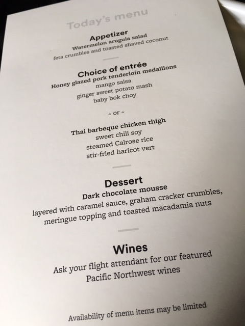 First Class dinner menu - it was very, very good (I had the pork but only ate the potatoes and bok choy).