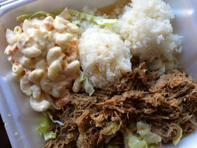 "Love making our own kalua pork ""plate lunch"" at home"