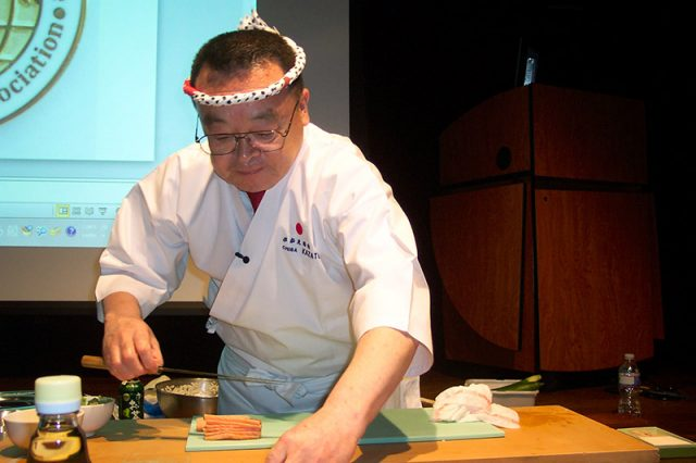 Sushi chef often wear a tenugui headband