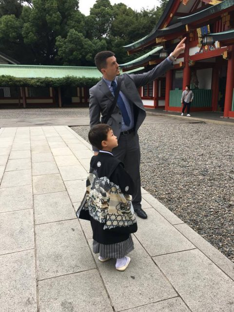 Our son and grandson at the shrine for the ceremony