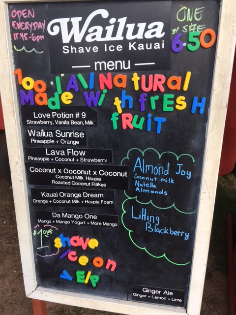 The shave ice menu - all cost just $6.50