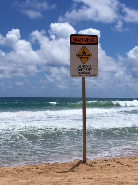 Signs up and down the beach warn of dangerous currents that day
