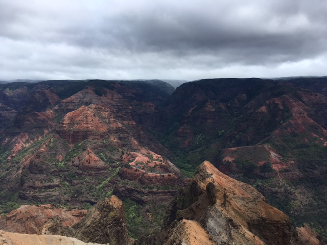 The day we visited was heavily overcast - we were outrunning the rain the whole way up the canyon.