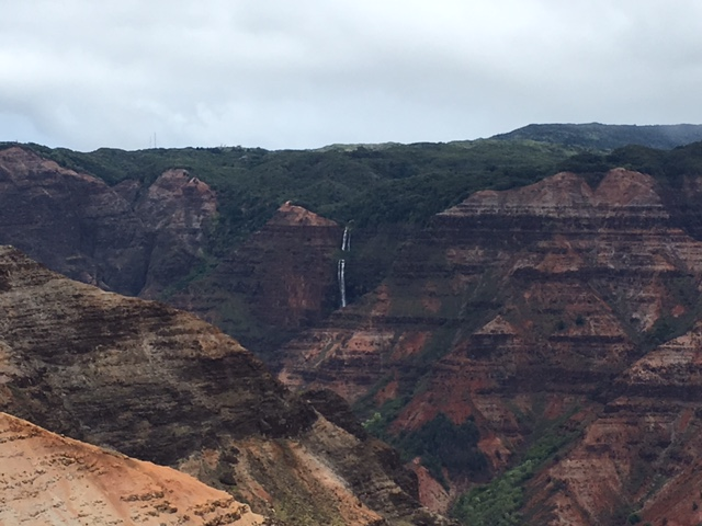 The view from the Waimea Canyon viewpoint. We were running a few minutes ahead of the rain all day, so not the best lighting, but the views were still spectaular.