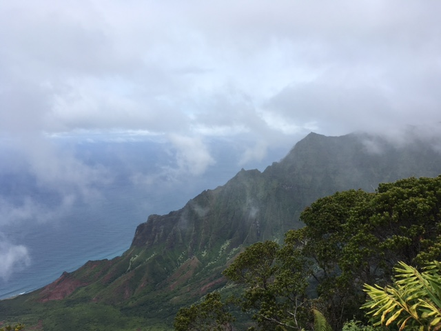 Even as the rain rolled in, the view from the Kalalau Viewpoint was breathtaking.