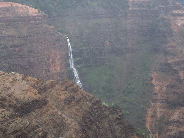 A closer look at the waterfall from the xx viewpoint. The falls can be seen in the distance from the Waimea Canyon viewpoint.