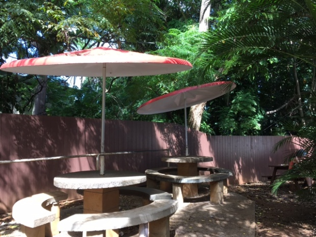 Shaded, outdoor seating
