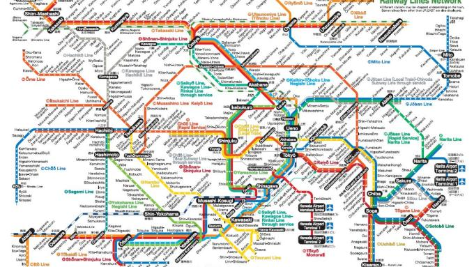 A Tokyo train & subway map looks complicated, but is not really, and will help you get around Tokyo cheaply and efficiently.