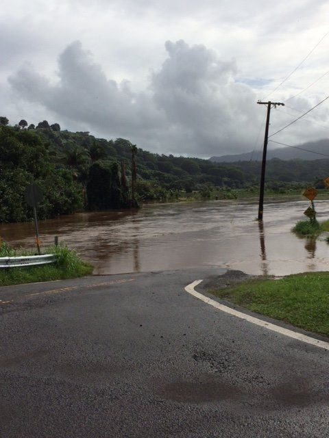 The road near the Hanalei bridge on the north shore was completely flooded out last week.