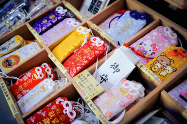 Omamori for sale at a shrine in Japan