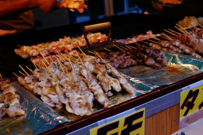 Outdoor yakitori stand
