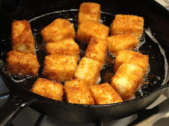 Fried panko tofu cubes. I make mine about half the size of these ones.