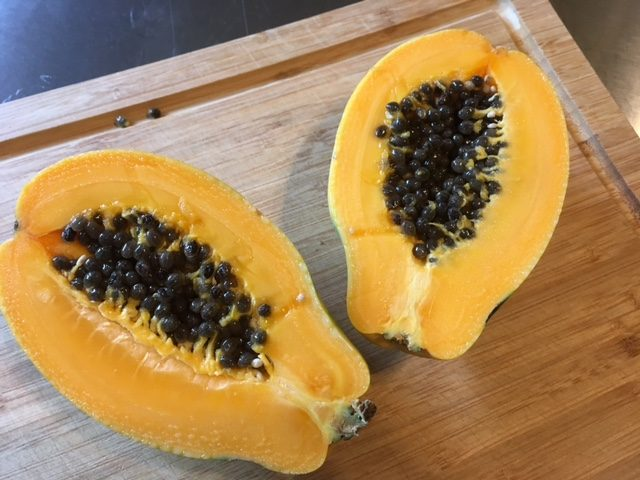 Fresh papaya for breakfast this morning - yum!