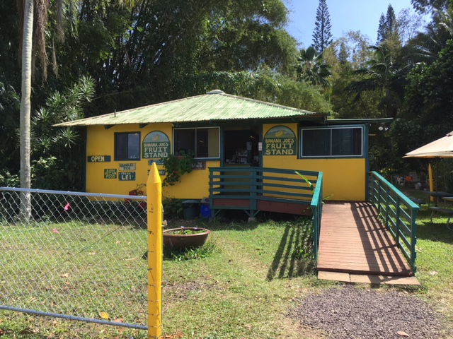 Banana Joe's is located on the mauka (mountain) side of the highway, just north of the Kilauea turnoff