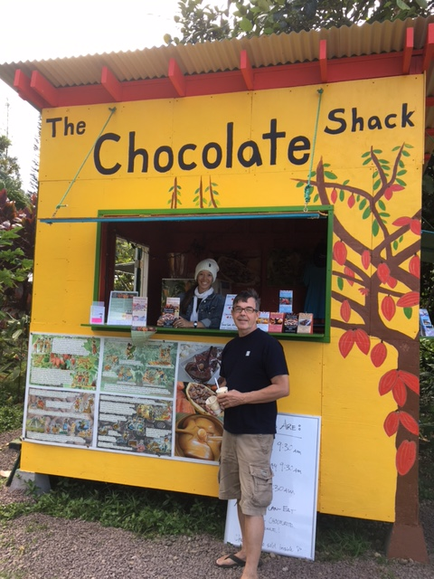The Chocolate Shack, located next to Banana Joe's and in front of the entrance to the Chocolate Farm Tours.